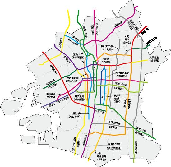 大阪市域内の指定路線図