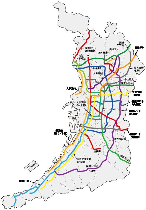 大阪市域外の指定路線図